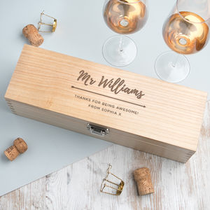 Personalised Teacher Wine Box