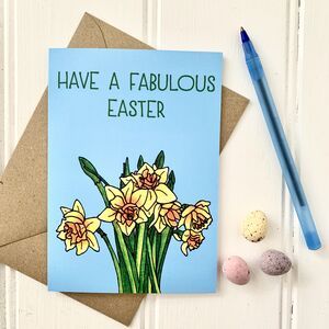 Bright Easter Daffodils Illustration Card
