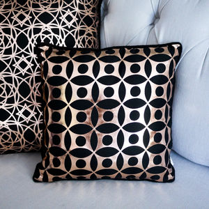 Metallic Circle Print Silk Cushion