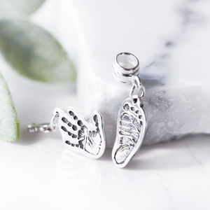 Personalised Silver Hand Or Foot Print Charm - tokens & keep sakes
