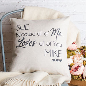 Loving All Of You Couple Cushion Cover - 4th anniversary: linen