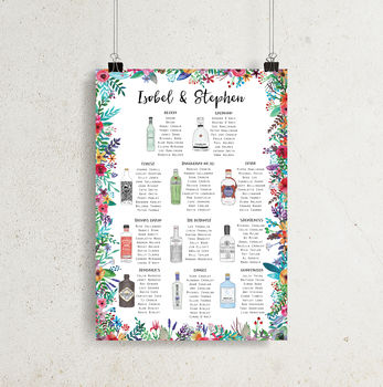 Gin Wedding Table Plan Colourful