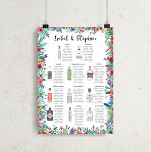 Gin Wedding Table Plan A1