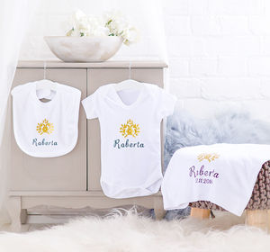 Personalised White Cotton Golden Flower Baby Gift Set - new in home
