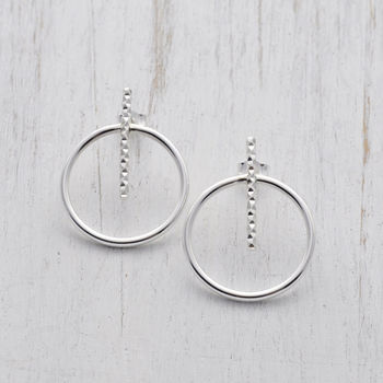 Large Circle Bar Sterling Silver Stud Earrings
