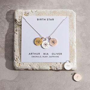 Personalised Birth Star Necklace - gifts for her
