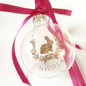 Baby's First Christmas Bauble With Cute Animal