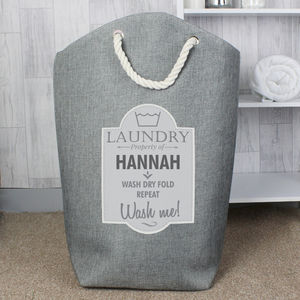 Personalised Laundry Grey Bag