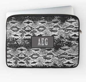 Silver And Black Snakeskin Laptop Case