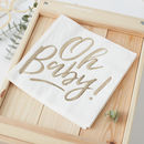 Gold Foiled Oh Baby Baby Shower Paper Napkins