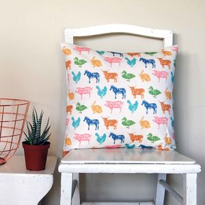 Small Square Farmyard Cushion - patterned cushions