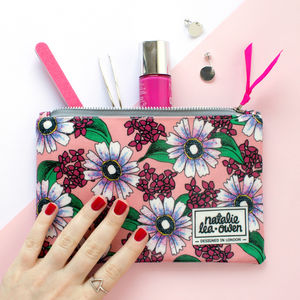Oilcloth Makeup Bag In Floral Print