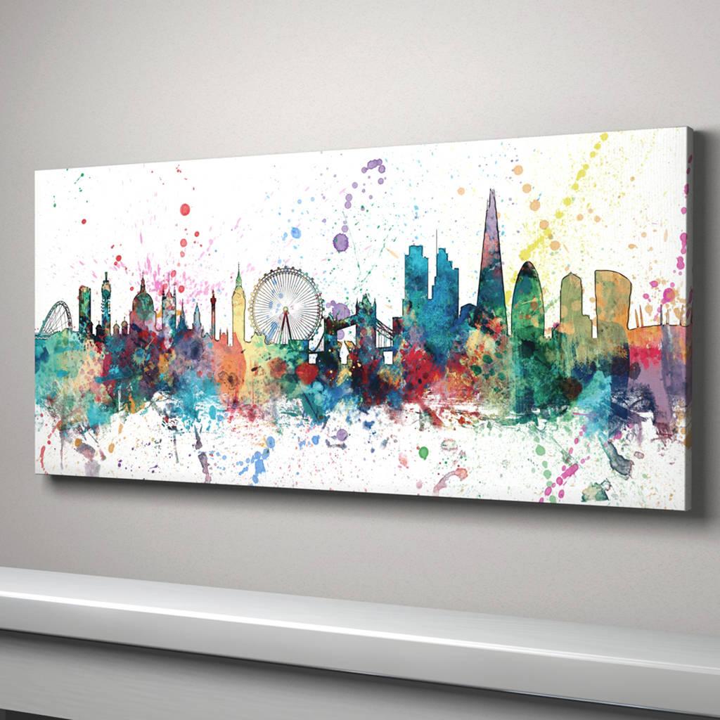 London Skyline Cityscape Paint Splashes Print By Artpause