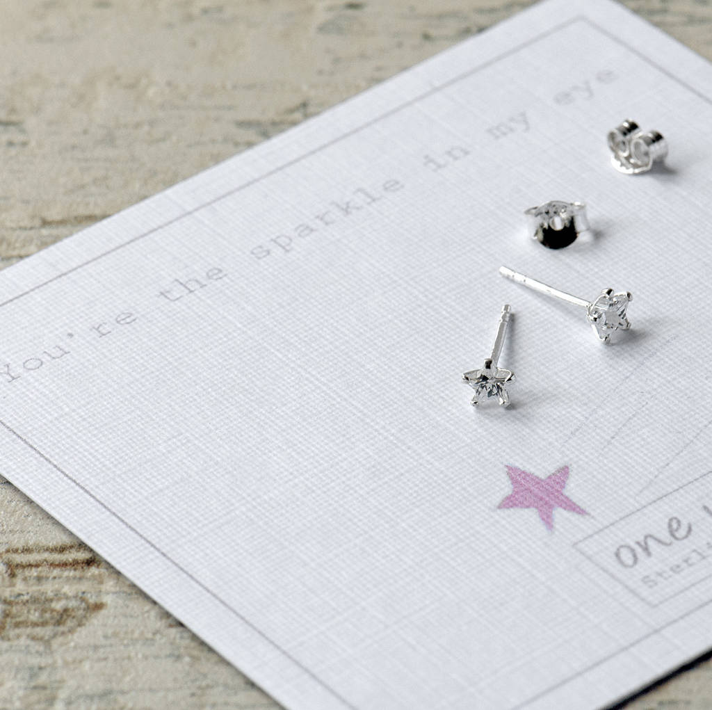Cubic Zirconia Star Sterling Silver Stud Earrings