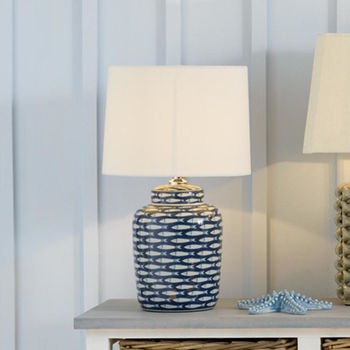 Medium Blue And White Ceramic Fish Table Lamp