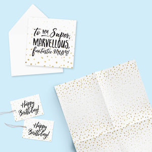 Gift Wrap, Tags And Card Set : Marvellous Mum - mother's day cards & wrap