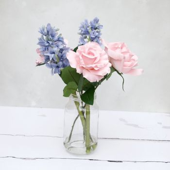 Everlasting Hyacinth And Pink Rose Bouquet