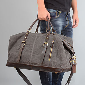 Waxed Classic Travel Holdall Bag Personalised