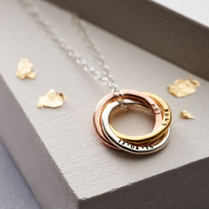 Personalised Mixed Gold Russian Ring Necklace - personalised jewellery