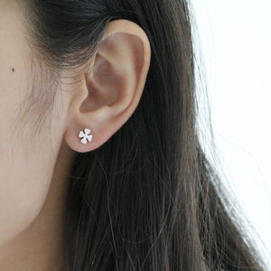 Silver Four Leaf Clover Ear Studs - children's accessories
