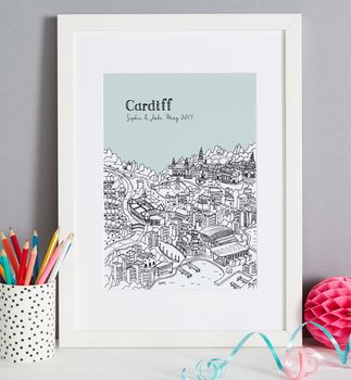 Cardiff print in colour 7 Ice, font style 2