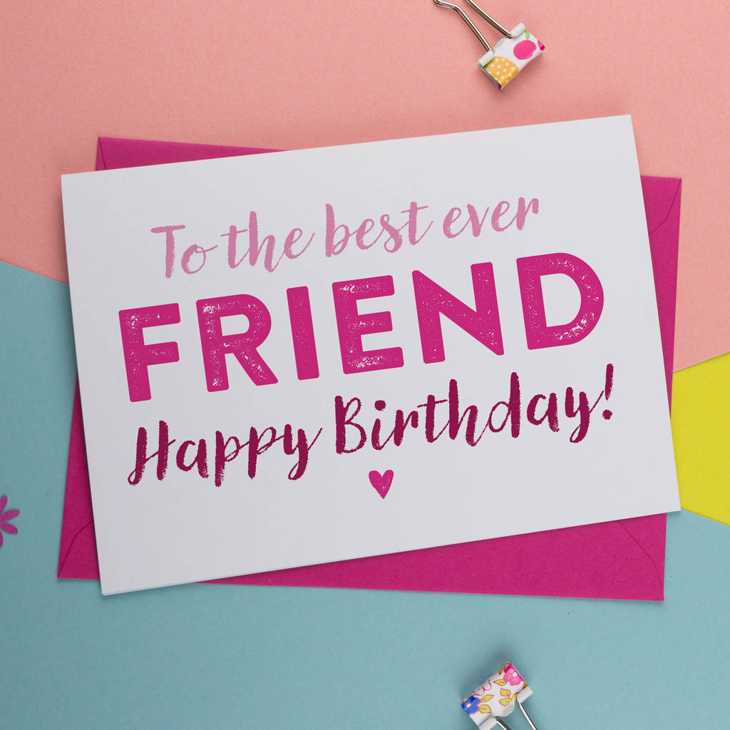 Bff Best Friend Birthday Card In Pink And Blue