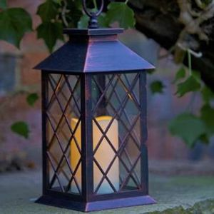 Lattice Battery Candle Lantern - outdoor decorations