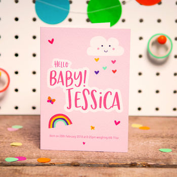 Personalised Hello Baby Girl Card