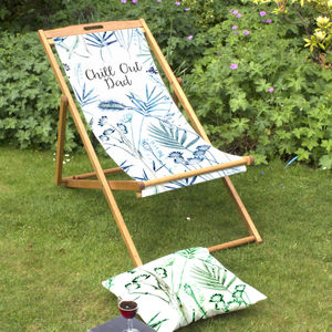 Personalised Tropical Beach Deckchair For Men - garden furniture