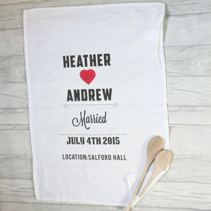 Personalised Cotton Tea Towel Heart And Names - personalised