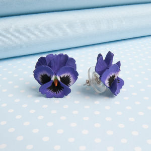 Pansy Earrings In A Choice Of Natural Colours - earrings