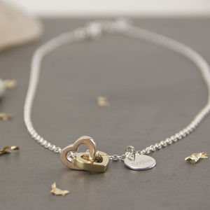 Linked Heart Sterling Silver And Gold Necklace