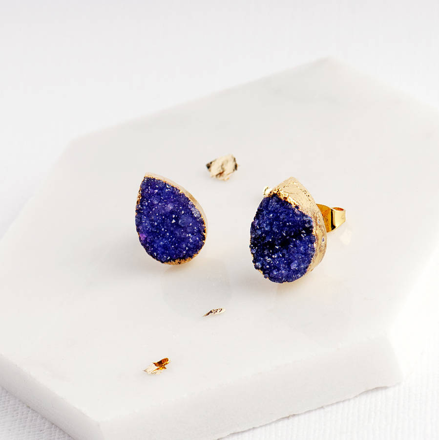 283186647e590 Purple Druzy Stone Teardrop Stud Earrings