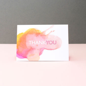 Watercolour 'Thank You' Greeting Card