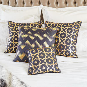 Moroccan Tile Print Gold Foil Cotton Cushion - cushions