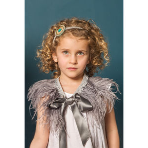 Pewter Ostrich Feather Capelet