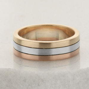 6mm Wide Three Colour Gold Wedding Ring