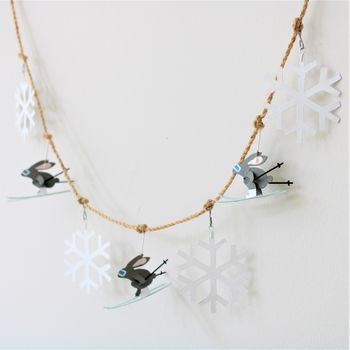 Christmas Garland Of Skiing Rabbits