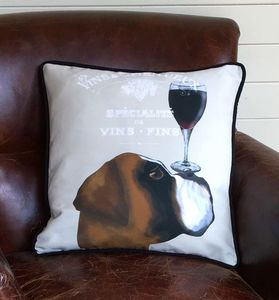 Boxer Dog Cushion, Dog Au Vin Wine Gift