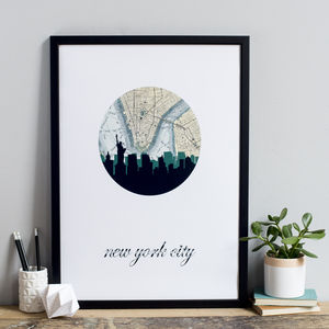 New York City Skyline Map Art Print - maps & locations