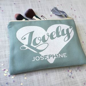 Personalised 'Heart' Luxury Flat Makeup Bag