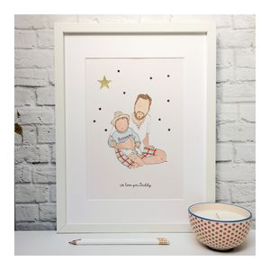 Personalised Father And Child/Ren Portrait Illustration - children's room