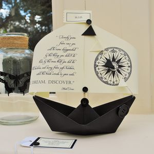 'Explore Dream Discover' Literary Boat Card Keepsake - retirement cards