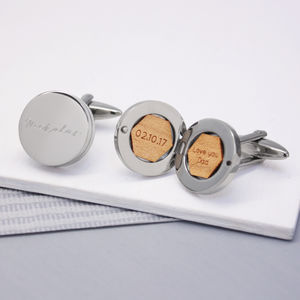 Personalised Round Locket Name Cufflinks