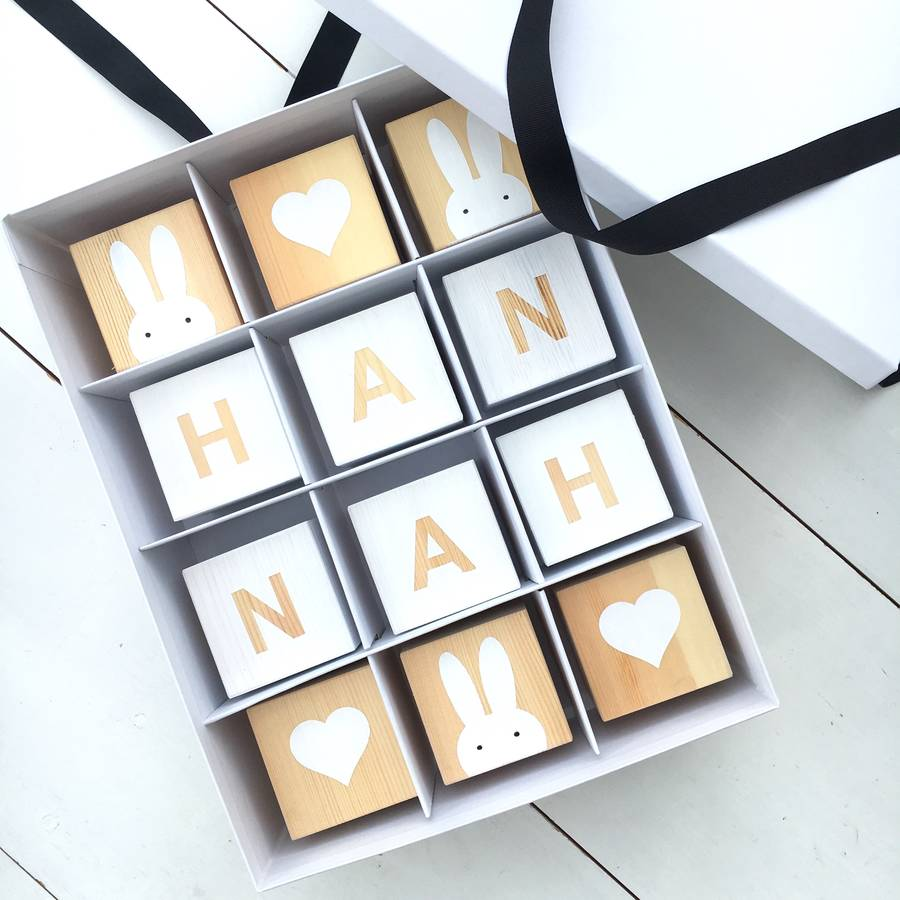 Personalised Wooden Blocks Gift Box In White