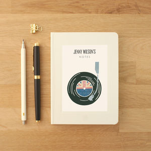 Personalised Record Player Notebook - music-lover