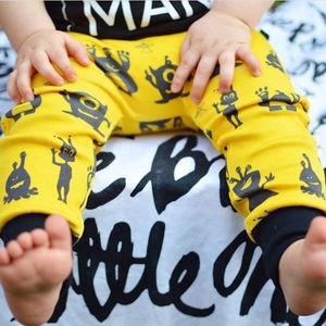Alien Print Organic Baby Leggings Yellow, Was £13.50