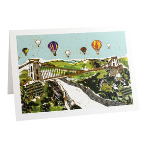 Balloons Over The Bridge Greetings Card