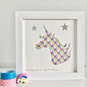 Personalised Framed Unicorn Picture - mixed media & collage