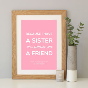 Sister Quote Print Gift